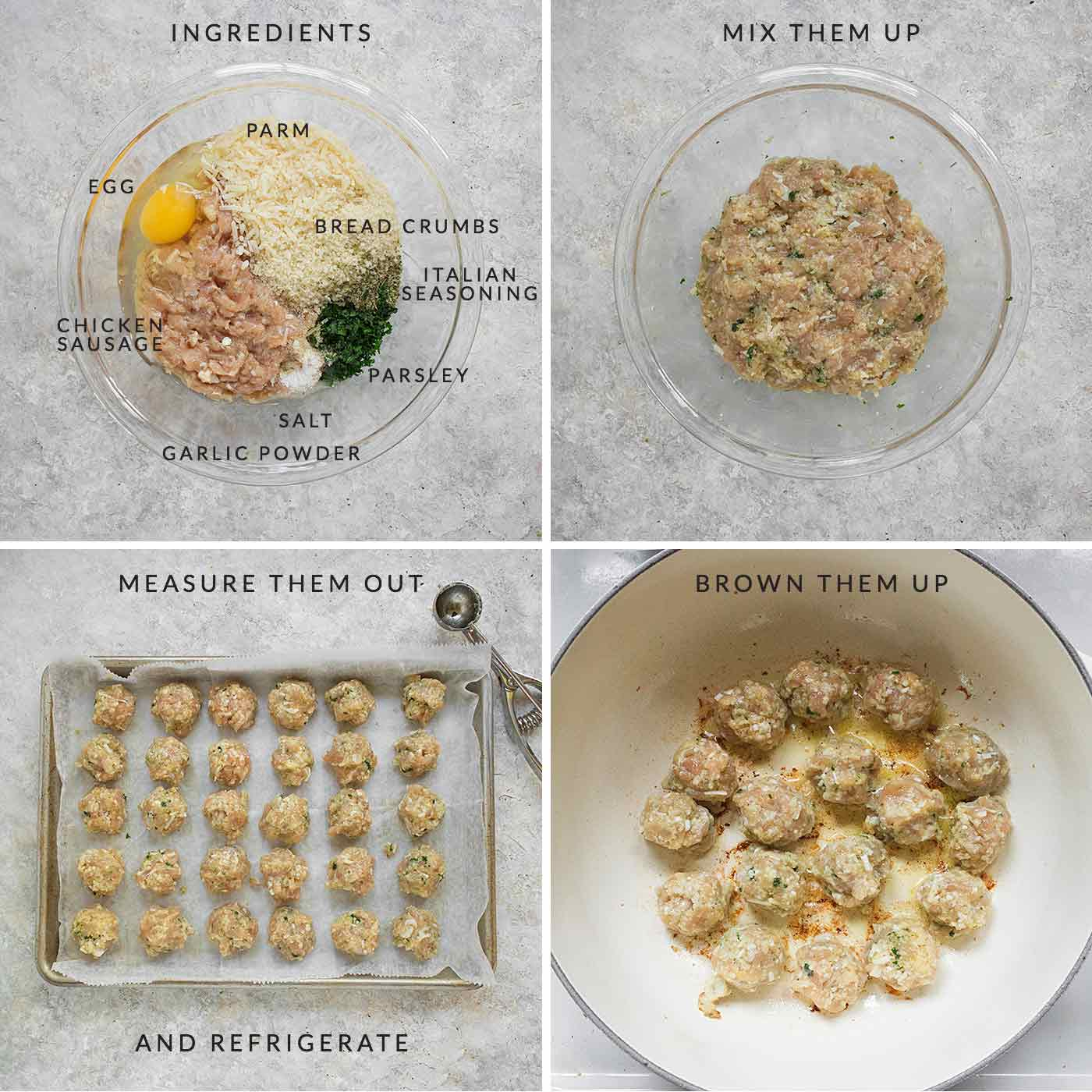 Steps for preparing the chicken sausage meatballs