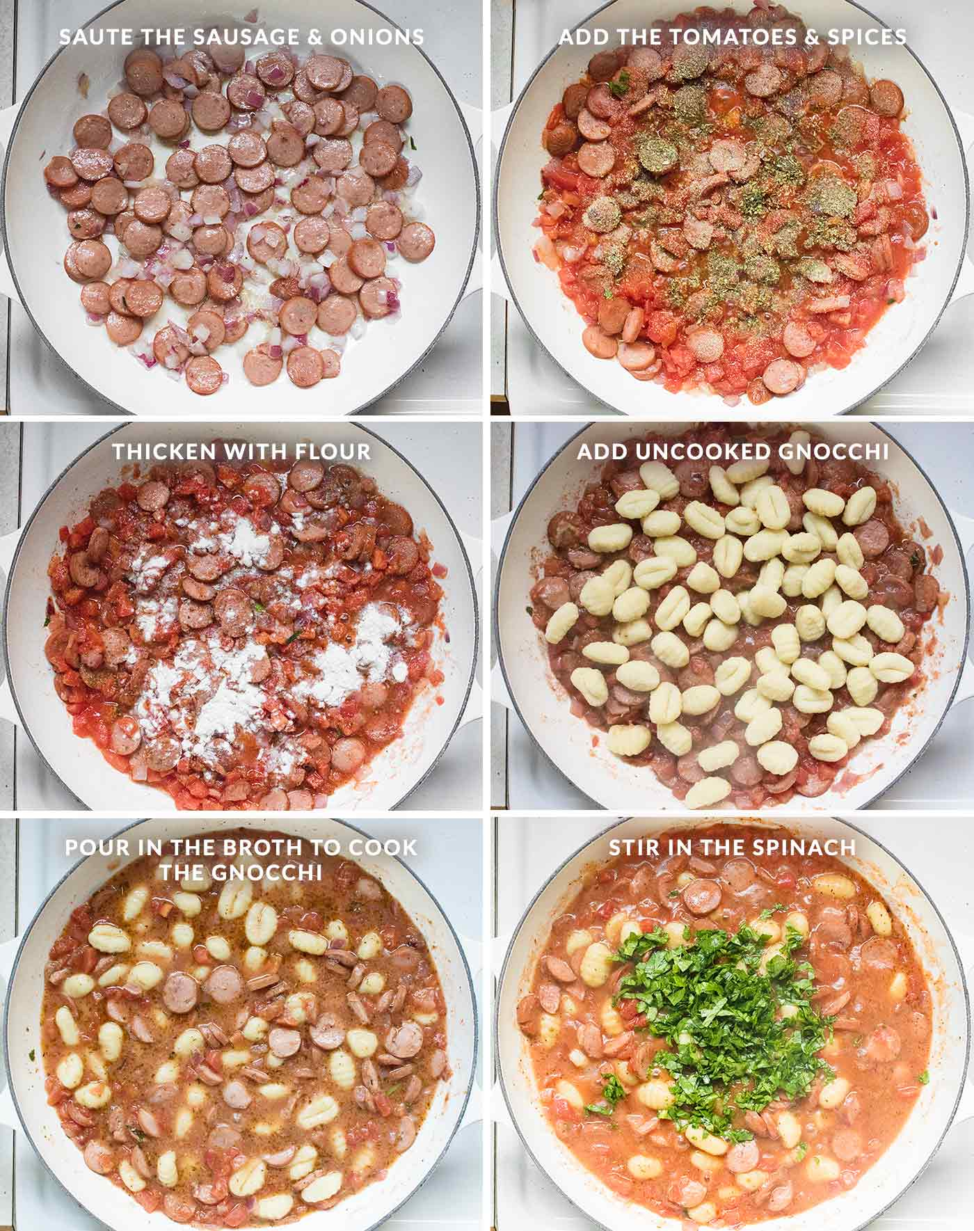 Steps for how to make smoked sausage & gnocchi skillet