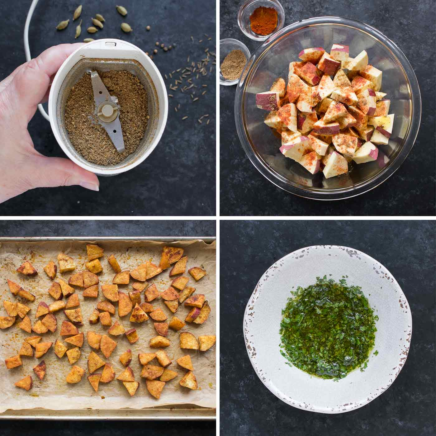 Collage of prep steps for spiced sweet potatoes.