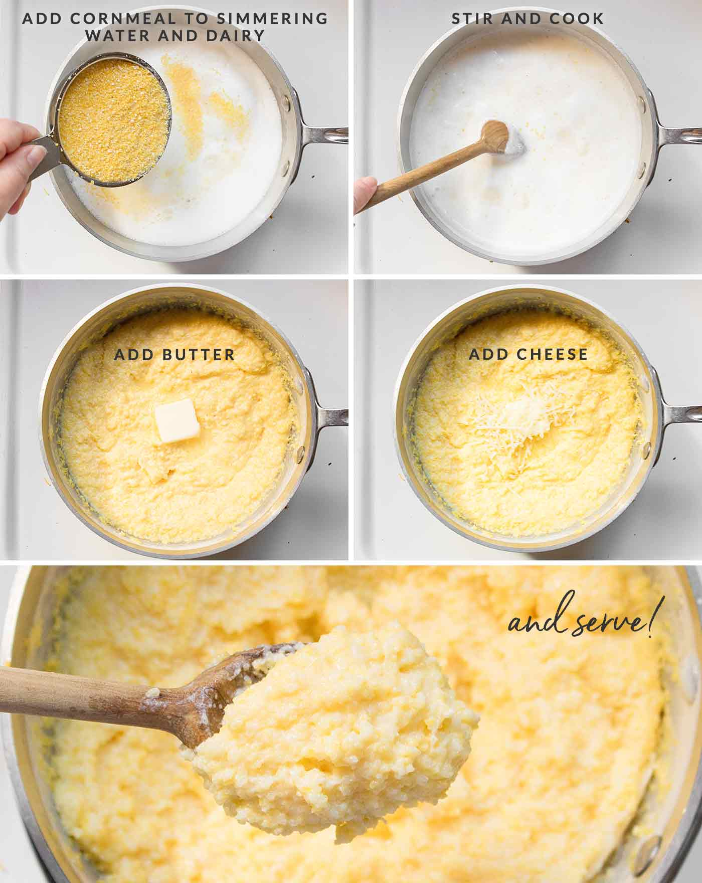 Step by step photos showing how to make cheese grits