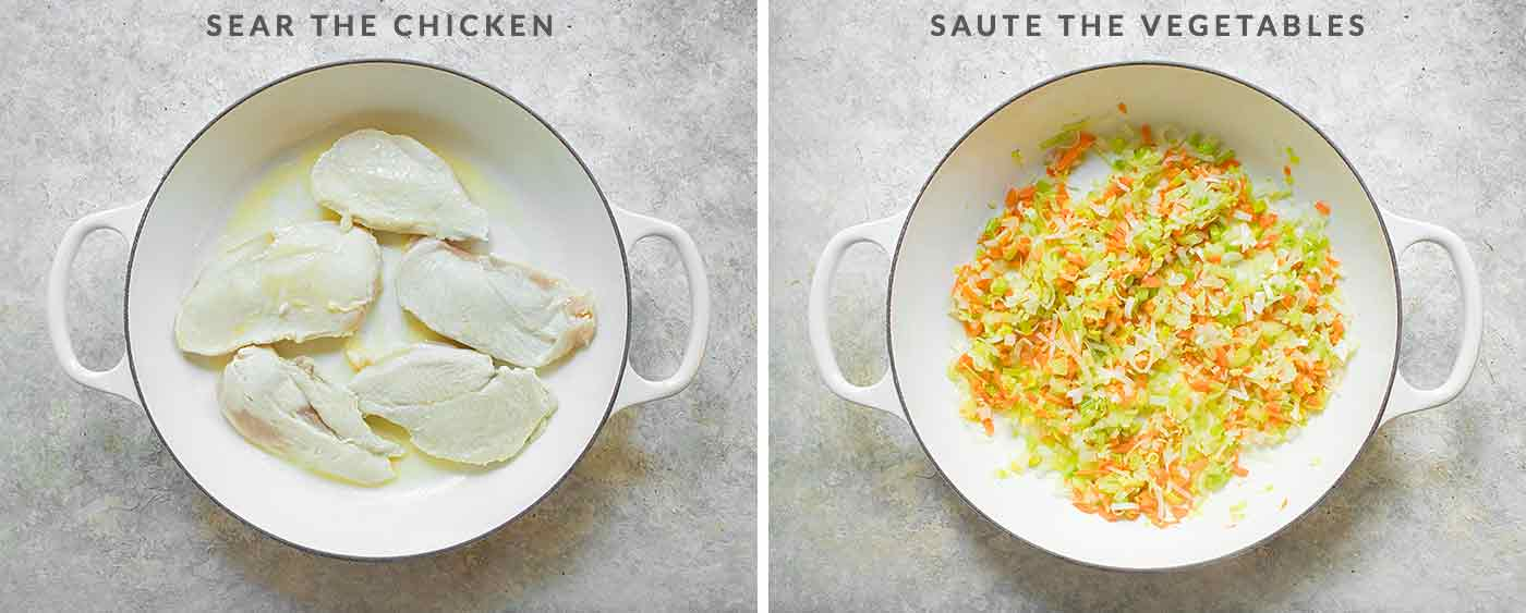 The first steps for preparing Chicken and Dumplings: Sear the chicken, then saute the vegetables.