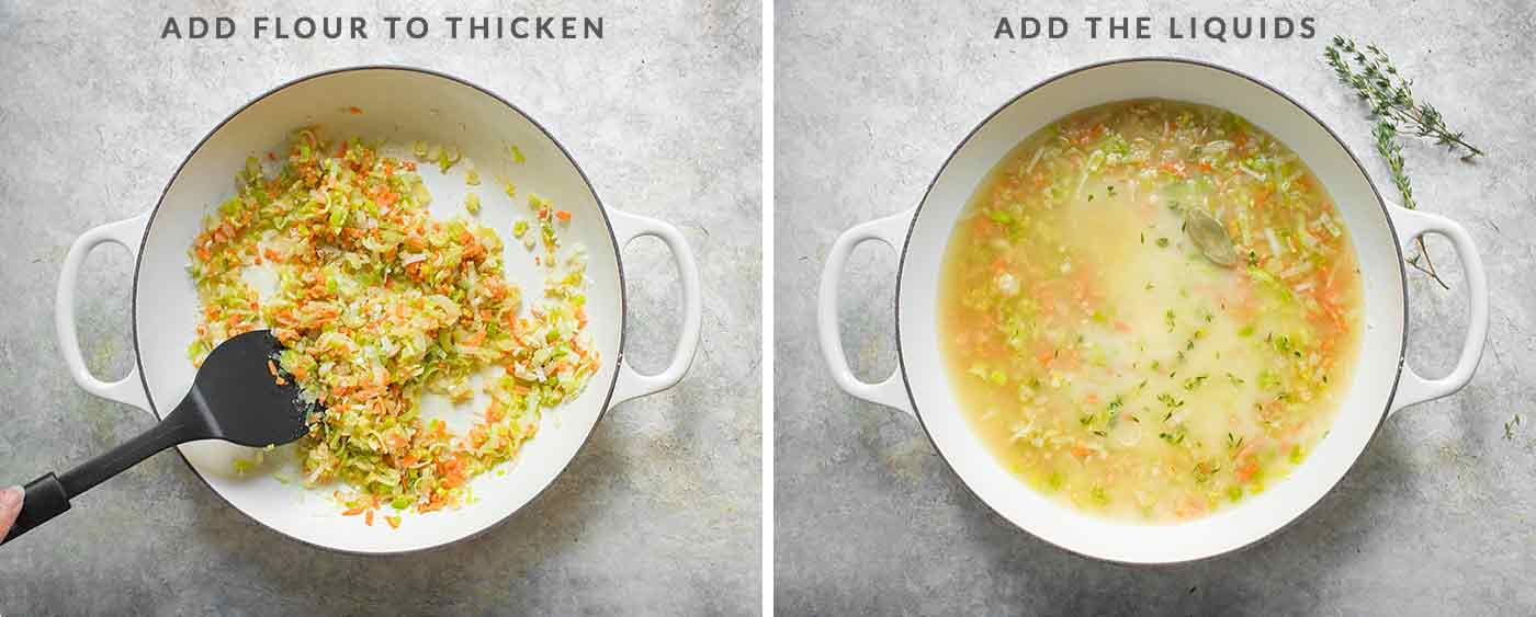 Continue making Chicken and Dumplings: add flour to the vegetables to thicken, followed by the soup liquids.