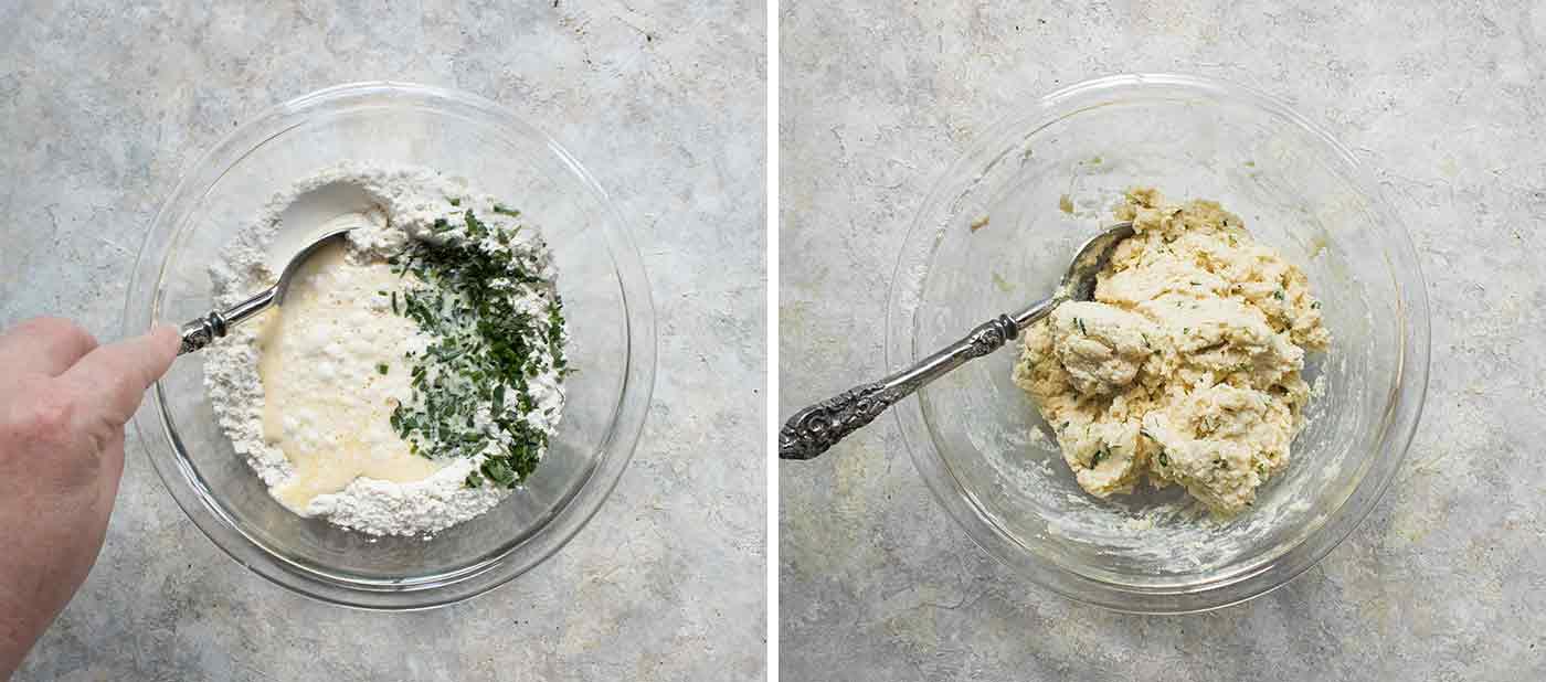 Stir the dumpling ingredients together in a bowl.