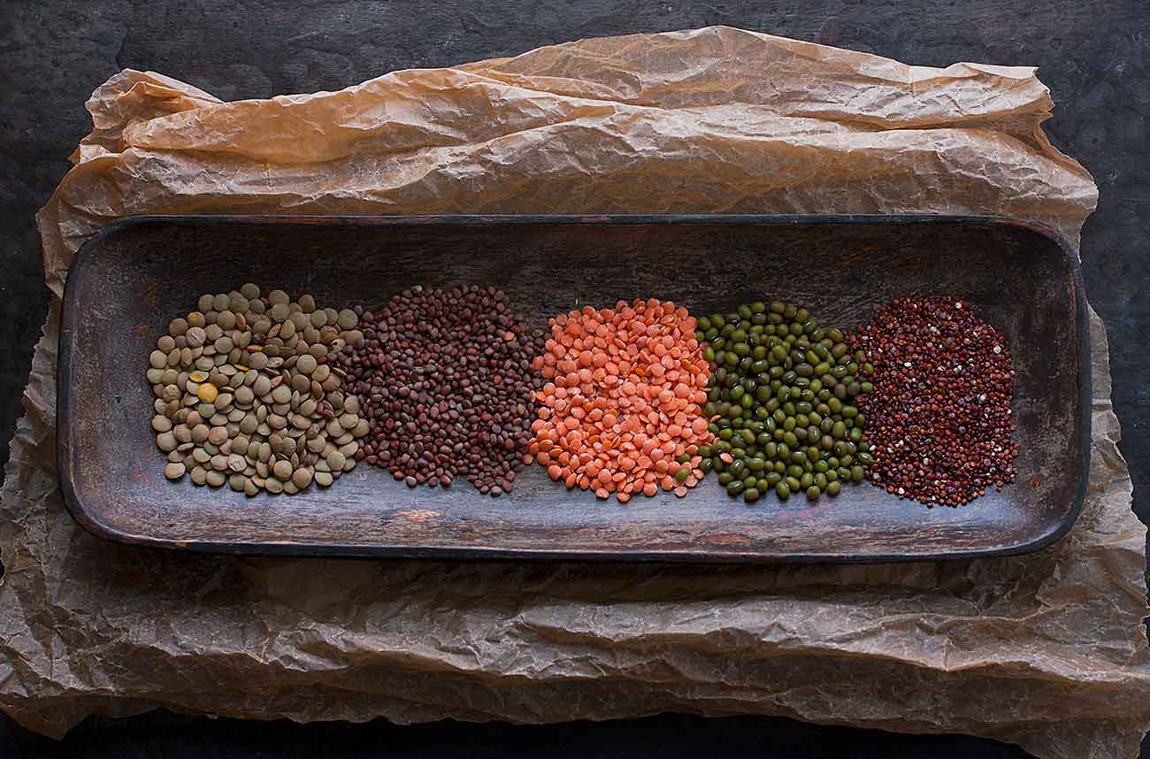 Legumes in a wooden bowl.