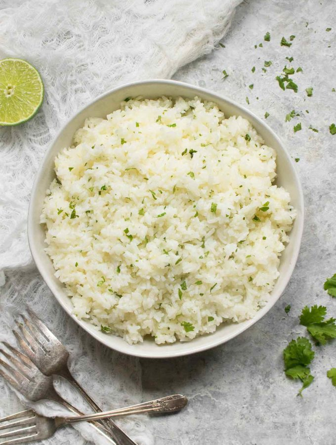 Fluffy Jasmine rice seasoned with shallots, citrus juices, and cilantro