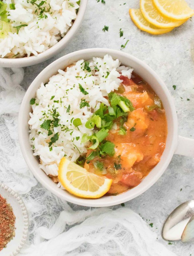 Shrimp Etouffee in a bowl with white rice