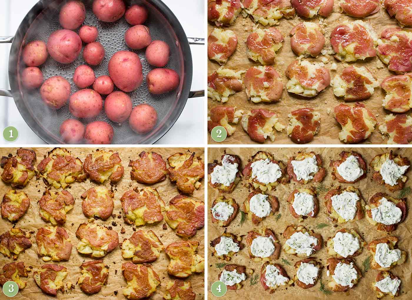 Steps for making crispy, smashed potatoes