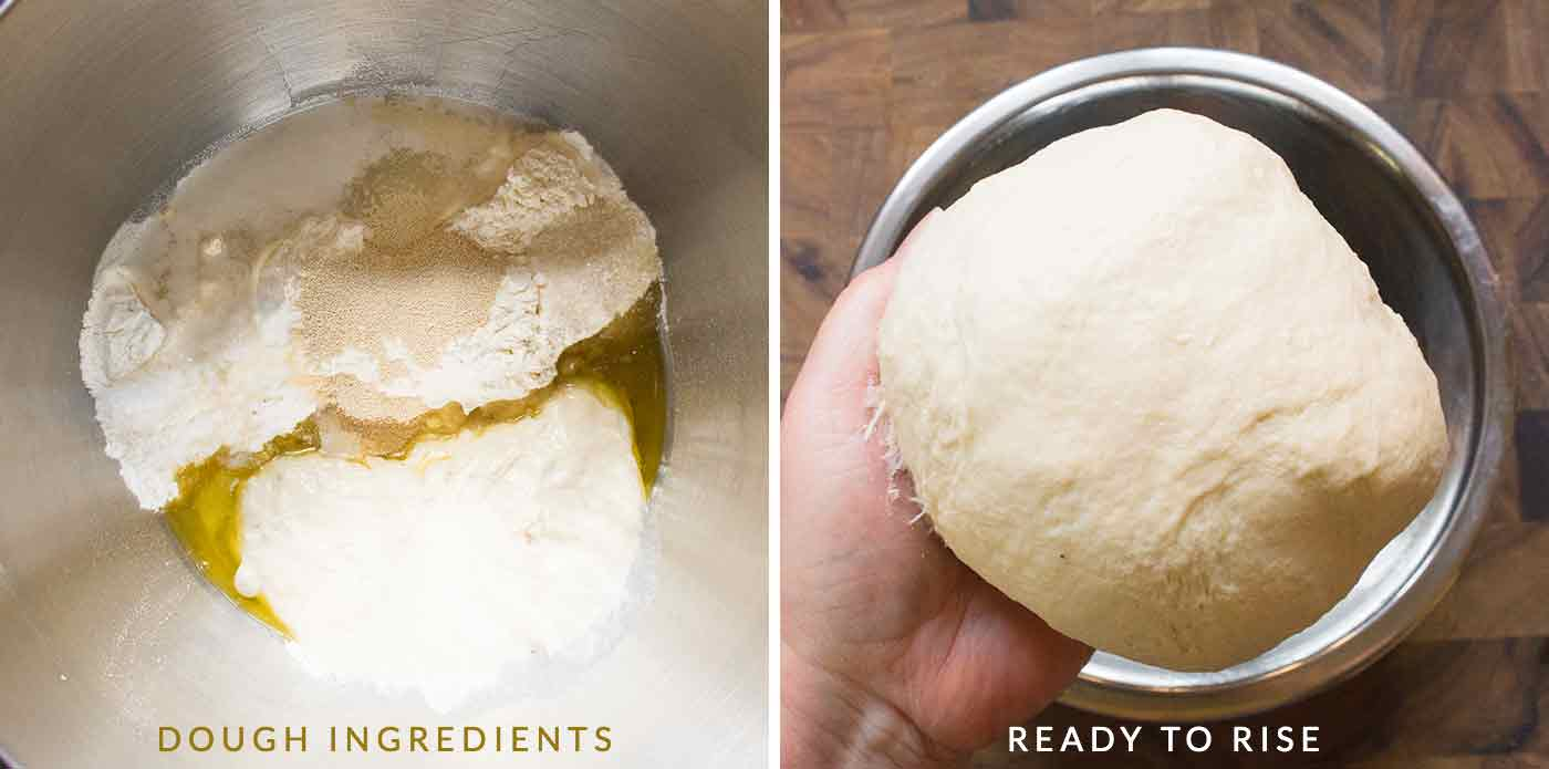 Add focaccia ingredients to bowl, mix, then kneed until smooth