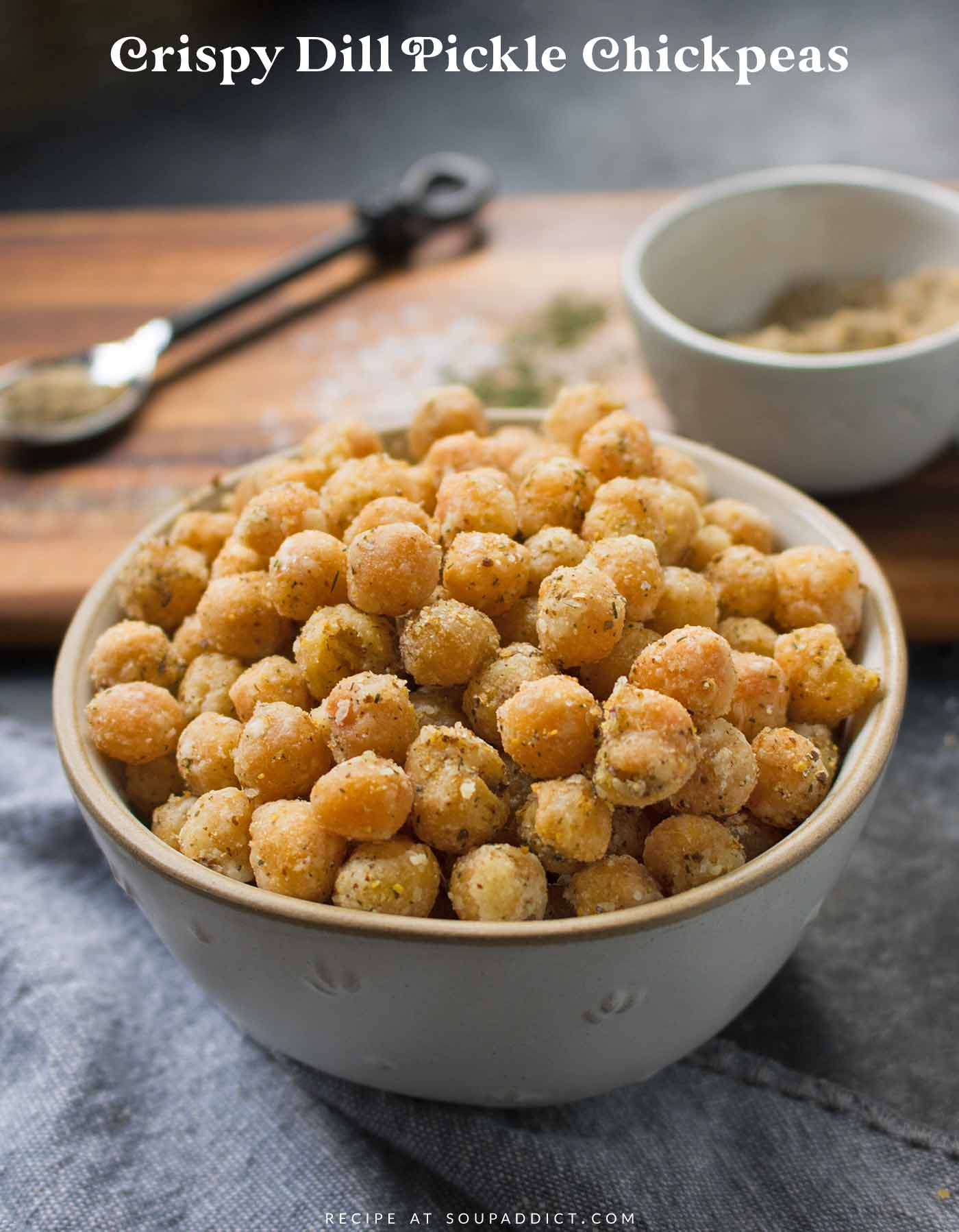 Crispy Dill Pickle Chickpeas in a serving bowl
