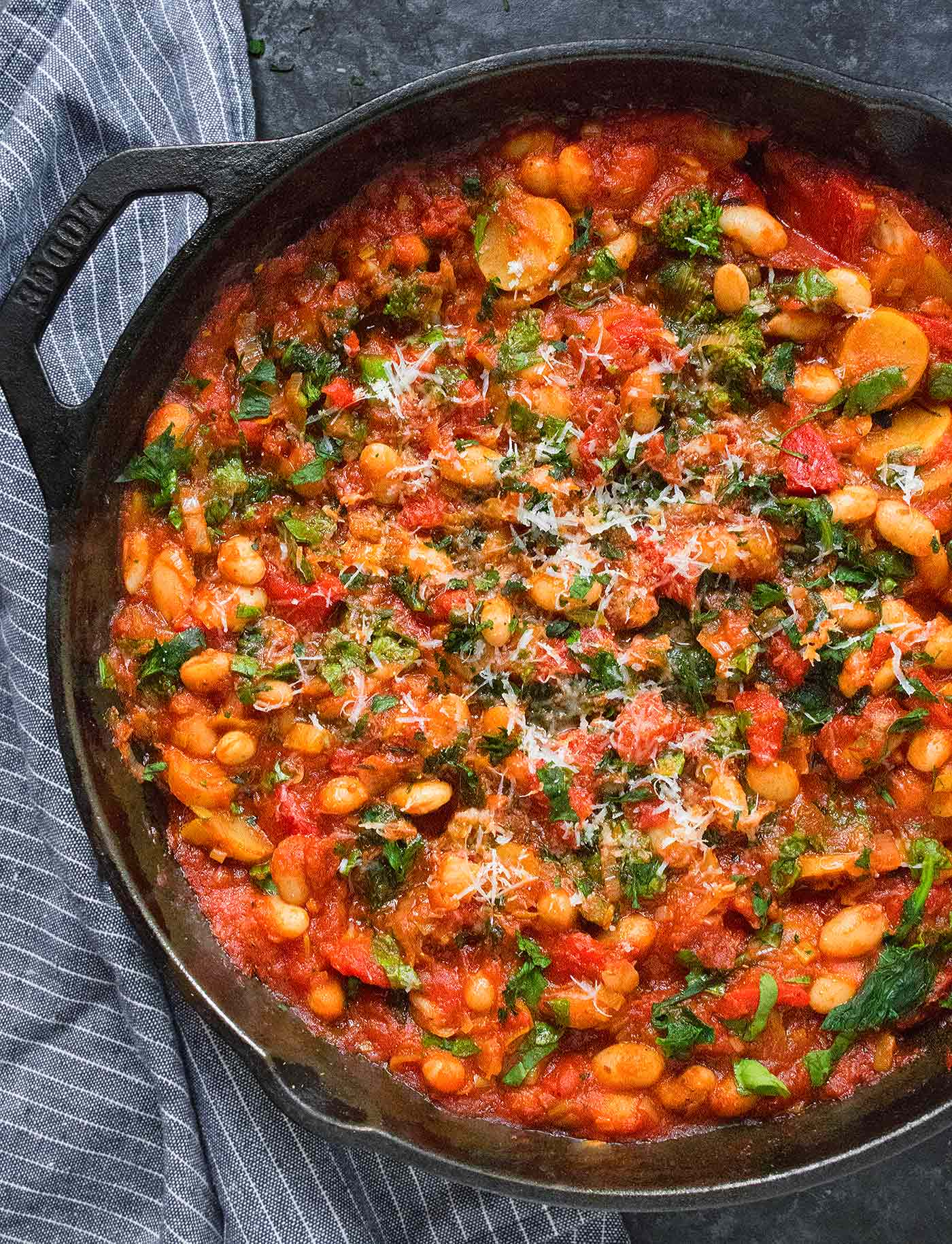 Close-up of Mediterranean White Bean Skillet