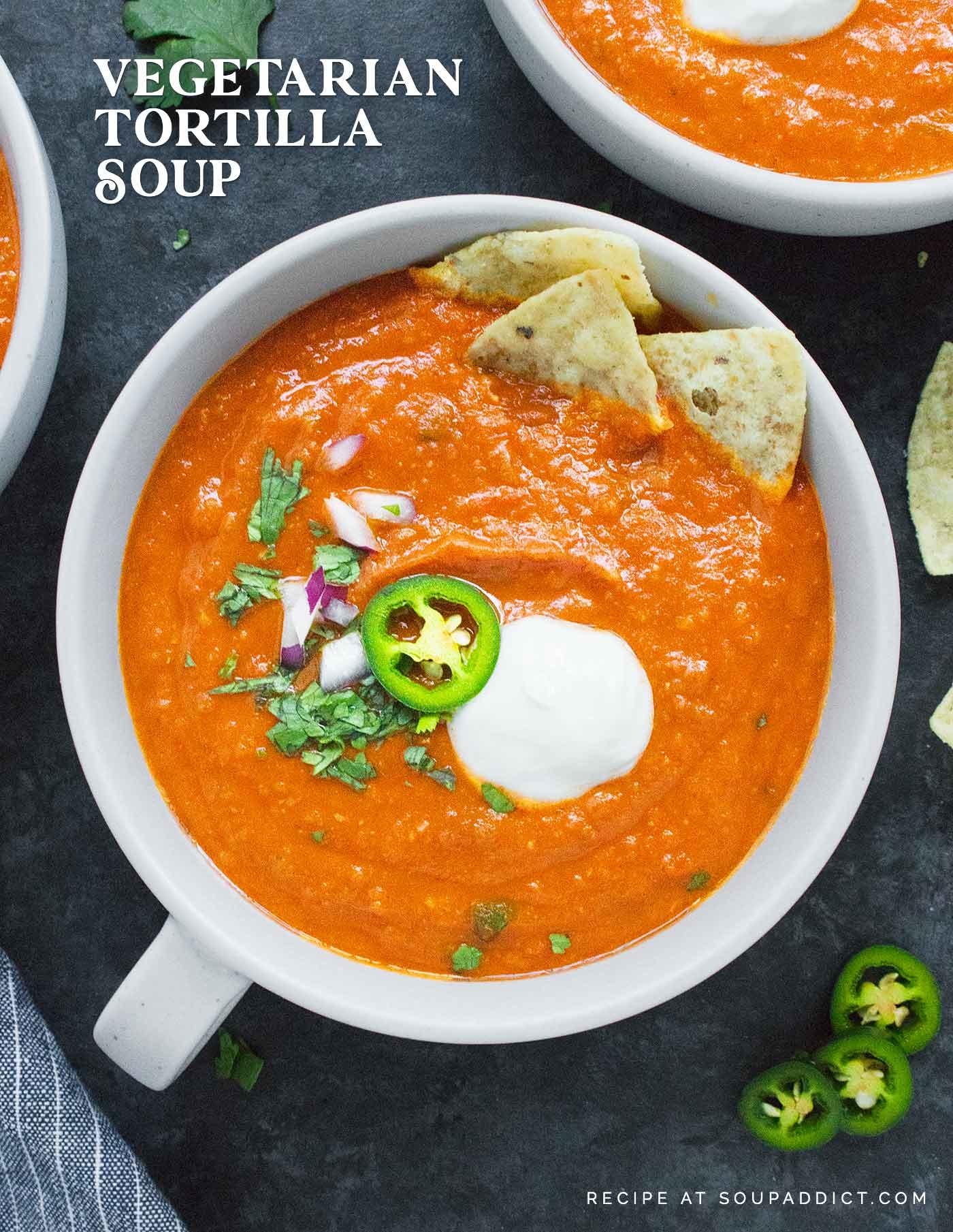 Close-up of a bowl of Vegetarian Tortilla Soup