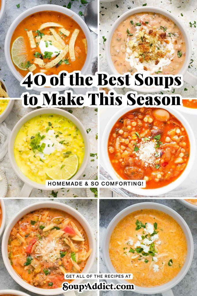 Six bowls of soup.