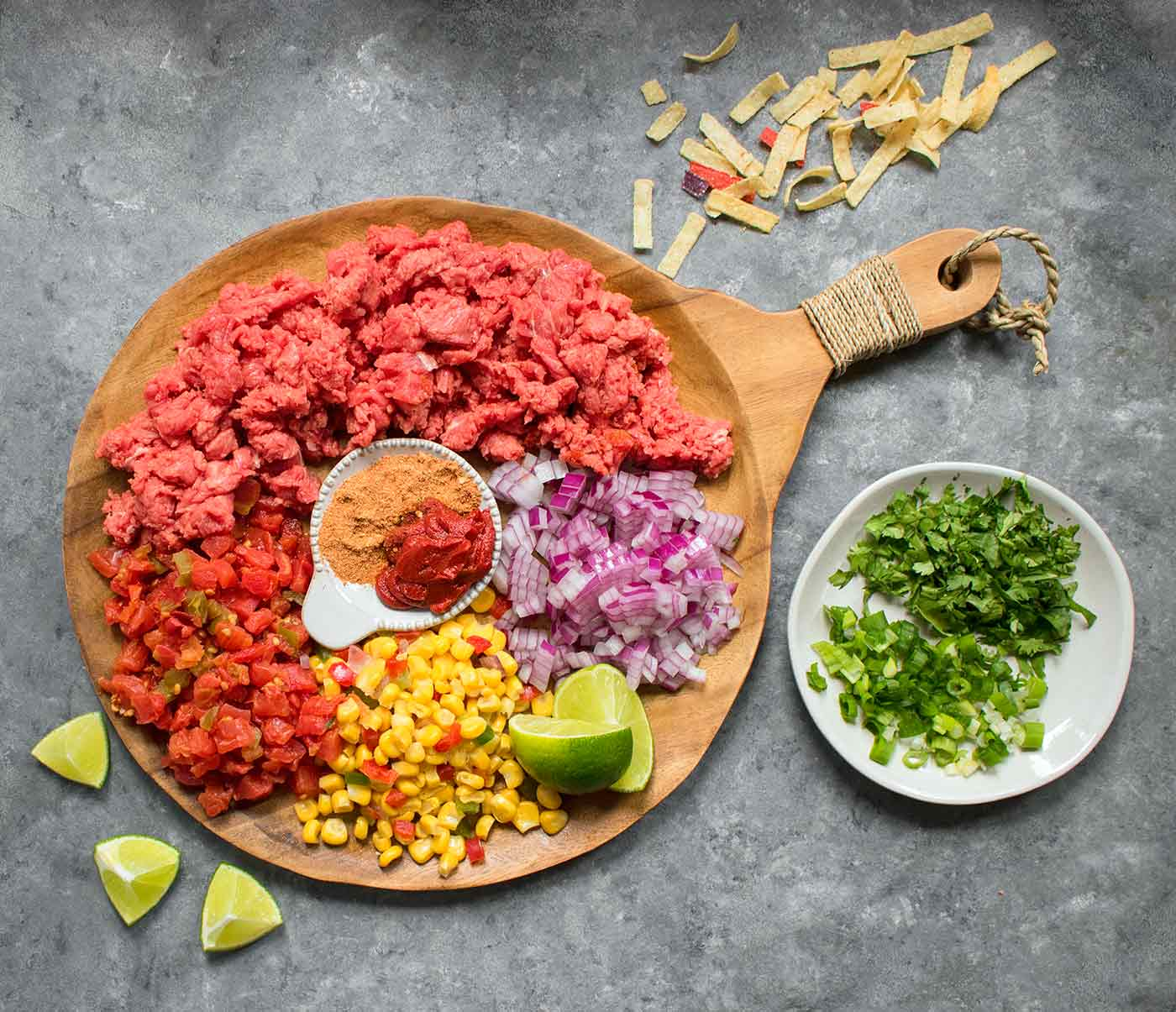 The ingredients for Taco Soup spread out on a serving board.